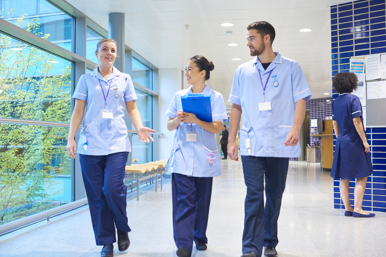 young nursing staff in a hospital corridor